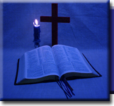 Cross, Candle and Bible image